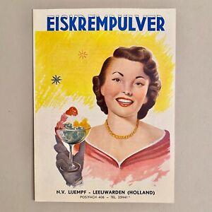 Vintage Werbung ALT Falt-Blatt Prospekt EISKREMPULVER N.V. Lijempf Leeuwarden