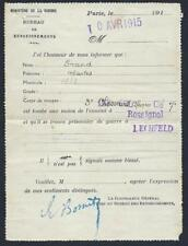 FRANCE 1915 WWI MILITARY COMMAND OF CHASSEURS D AFRIQUE POSTAL NOTE INFORMING