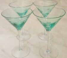 SET OF 4 SAPPHIRE BLUE MARTINI GLASSES WITH POLKA DOTS 6.75 INCHES HOLDS 4 OZS