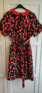 NEU, Rockabilly, Petticoat, Kleid, schwarz mit Kirschen, Bubikragen, Gr. 52
