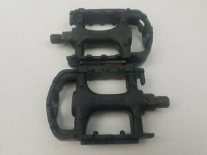 "Wellgo Mountain Bike Pedals Bicycle Pedal Set Black 9/16"" Vintage MTB K20439"