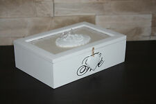 TEA Jewellery BOX small ''HOME sweet HOME'' STORAGE WOODEN VINTAGE CHIC STYLE