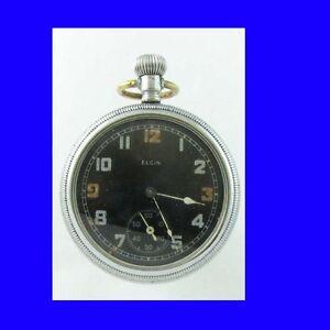 Vintage Superb WW2 Black Dialed Elgin Military Pocket Watch 1942