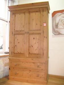 hand made solid pine 2 door double wardrobe.WAXED or in BARE WOOD IDEAL TO PAINT