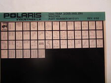 1992 Polaris Trail Boss 350L 2x4 ATV Microfiche Parts Catalog W927539