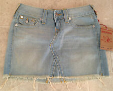 True Religion Skirt DENIM Sun Bleached Size 27 NEW
