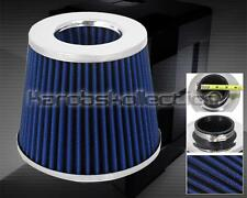 "BLUE SILVER 3"" CONE STYLE RACING INTAKE FILTER COLD AIR SHORT RAM TURBO"