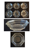 "VINTAGE Anchor Hocking Clear Glass 6.25"" HEXAGON Bowls Set of 6"