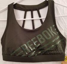 Reebox Training Respect Bra Dufflebag Green Medium Support Sports Bra Size S