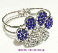 Paw Print Blue Clear Rhinestone Bangle Bracelet Dog Cat Silver-tone Hinged