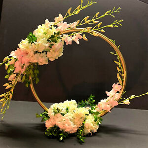 """20"""" Gold Round Circle Ring Moon Hoop Wreath Table Wedding Centerpiece"""