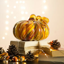 Glitzhome 8'D Multi Striped Glass Pumpkin Art Sculpture Halloween Harvest Decor