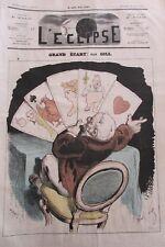 GRAND ÉCART JEU DE CARTES CARICATURE JOURNAL SATIRIQUE L'ECLIPSE N° 234 de 1873