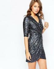 French Connection Lunar Sparkle Charcoal Rainbow Xmas New Years Sequin Dress 6