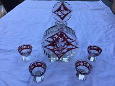 Kristall Glas Karaffe mit 4 Gläsern Böhmen Art Deco Moser Egermann