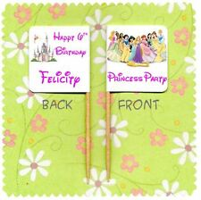 20 PERSONALISED DISNEY PRINCESS PARTY CUP CAKE FLAG Topper Birthday Decoration