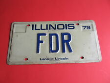 "Vanity License Plate Illinois Land of Lincoln ""FDR"" Franklin D. Roosevelt"