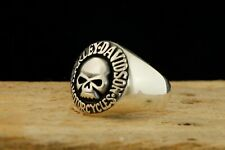 Skull With Harley Davidson Emblem Ring 925 Sterling Silver Men's Ring 9