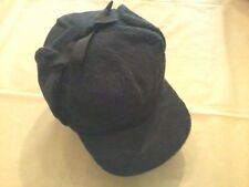 Vintage Corduroy Tie Top Winter Cap, Black, Size 8, XXXL Langenberg Hat Co., NEW