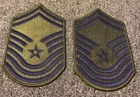 1 PAIR 2 PATCHES 1976-1993 USAF Air Force Rank Patch CHIEF MASTER SERGEANT E-9 G