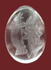 VINTAGE SCANDINAVIAN ART GLASS CRYSTAL EGG WITH ACID ETCHED DALHIA SWEDEN