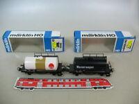 F774-0,5# 2x Märklin H0 Kesselwagen ELAN+Wasserwagen ÖBB 4444+4445 TOP+OVP