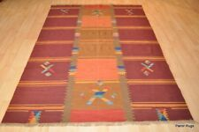5' x 7' Top Quality Indian Navajo design Kilim maroon gold green yellow rug