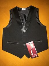 NWT Baby Boys Toddlers Black Tuxedo Vest Formal Party Graduation Wedding Size 2T