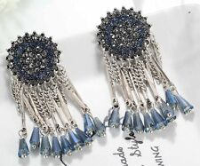 1 Pair Elegant Blue Crystal Rhinestone  Ear Drop Dangle Stud long Earrings 143