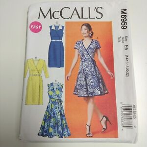 McCall's M6959 6959 Easy Wrap Dress Pattern NEW Uncut Sz 14 - 22