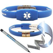 Waterproof Messenger Series Medical Alert ID Bracelet - Blue
