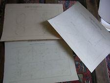 N06 3 planches dessin XIXème Ecole Nat Arts & métiers Aix Géométrie Barthas