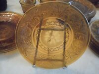"Set of 2 Vintage Indiana Tiara Sandwich Glass Amber luncheon Plates 9"" Dia"