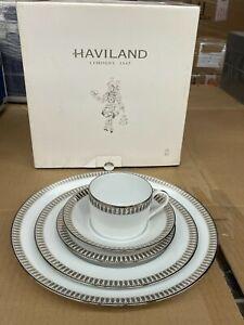 Haviland Limoges Porcelain PLUMES Platinum 5pc. Place Setting - NEW in Box