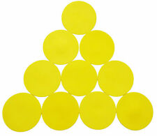 1 SET OF 10 YELLOW FLAT RUBBER DISC SPOT MARKERS INDOOR SOCCER FUTSAL BASKETBALL