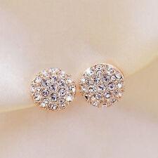 Elegant Fashion Women Female Circle Crystal Rhinestone Ear Stud Earrings Jewelry