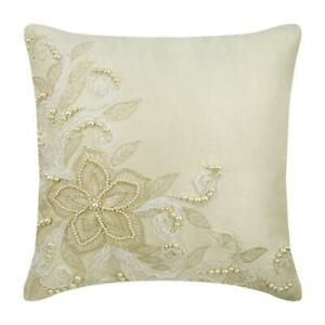 Pillow Cover 18x18 inch Ivory Decorative, Silk Floral Pearl Lace - Wedding Love