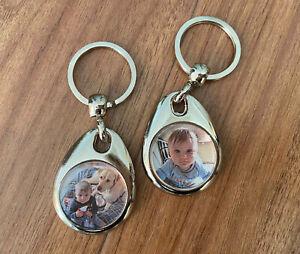 Schlüsselanhänger mit 2 Fotos Farbe beidseitig Geburstag Geschenk Fotoanhänger