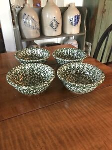 "Gerald Henn Workshops Set Of 4 Green Spongeware Soup/Cereal Bowls 6-1/2"" NEW"