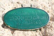 Islamic Amulet Pendant Green Agate / Jade Stone tawiz Arabic Calligraphy Quran