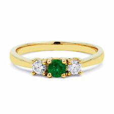 Natural Emerald Yellow Gold Three-Stone Fine Rings