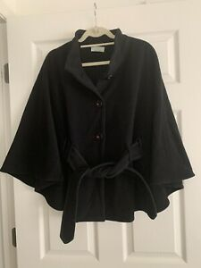 Vintage Jimmy Hourihan Wool Cashmere Belted Cape Made in Ireland 1 sz Black