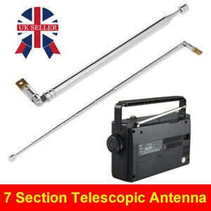7Section Telescopic TV Radio Antenna DAB AM/FM Aerial Connector Replacement UK