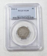 """1912-S Liberty/""""V"""" Nickel CERTIFIED PCGS VG 08 5-Cents"""