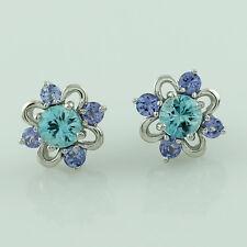 Blue Zircon 1.44 Ct Genuine Class Earring 10K White Gold Stunning Lady Jewelry