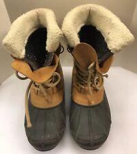 Sorel Women 7 US Badger II Boots Beige Tan Leather Brown Rubber Winter Lined