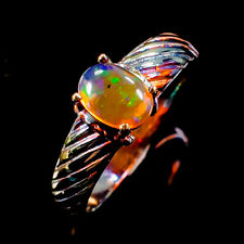 Jewelry Gemstone ring Natural Opal 925 Sterling Silver Ring Size 8.5/R96446