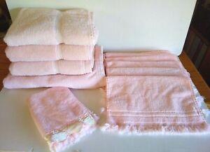 Bath Towel Lot (4) Bath (7) Fingertip Peach/Pink Lady Pepperell Franco Cannon