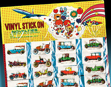 36 VINYL STICK ON | 3d Vintage Cars Boxed Shop Display Card Made in Japan 70er