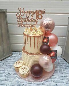 BALLOON CAKE TOPPER ROSE GOLD CONFETTI BRIDE BIRTHDAY WEDDING ENGAGED GARLAND